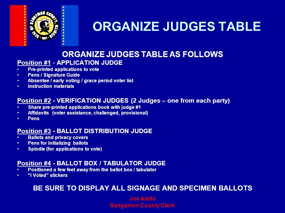 ORGANIZE JUDGES TABLE ORGANIZE JUDGES TABLE AS FOLLOWS