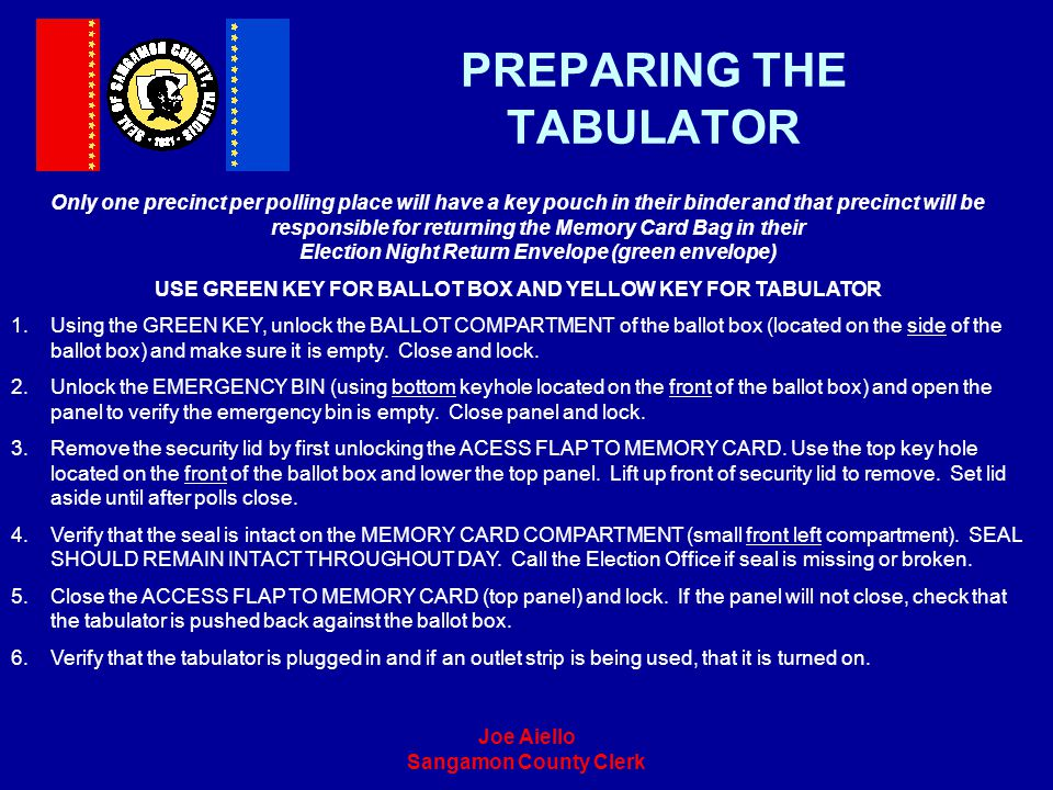 PREPARING THE TABULATOR