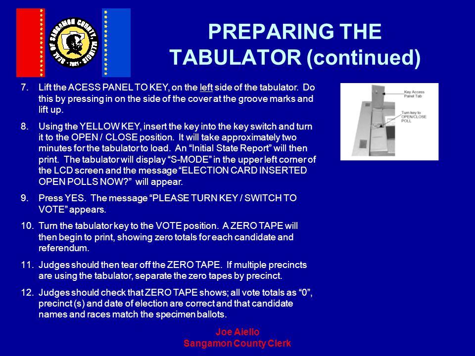 PREPARING THE TABULATOR (continued)