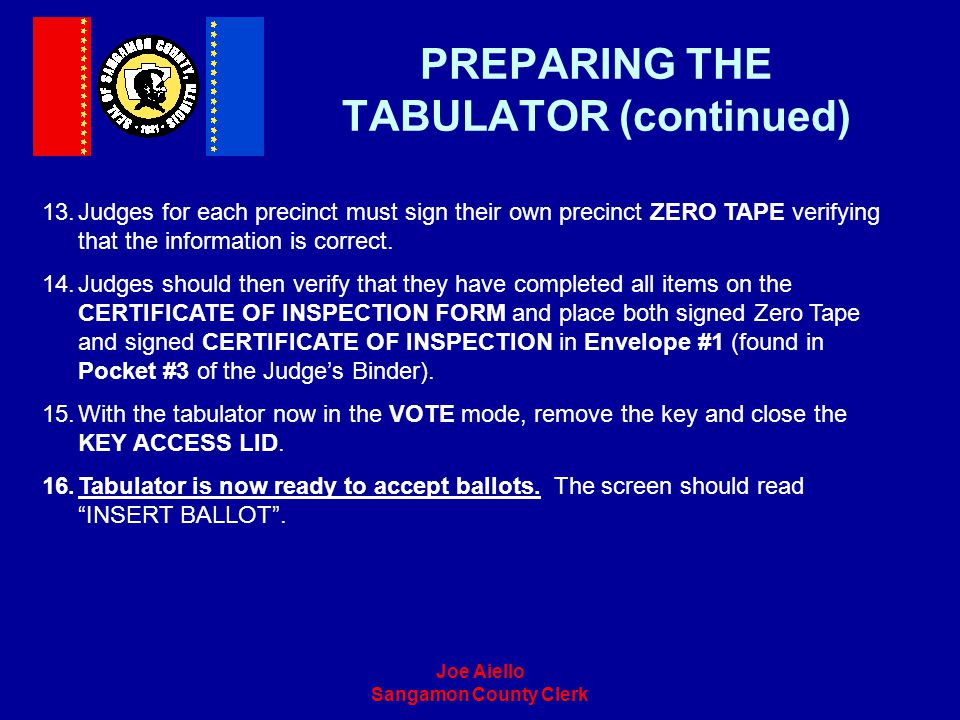 PREPARING THE TABULATOR (continued)