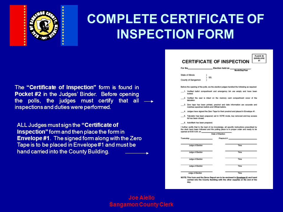 COMPLETE CERTIFICATE OF INSPECTION FORM