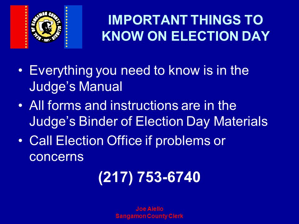 IMPORTANT THINGS TO KNOW ON ELECTION DAY