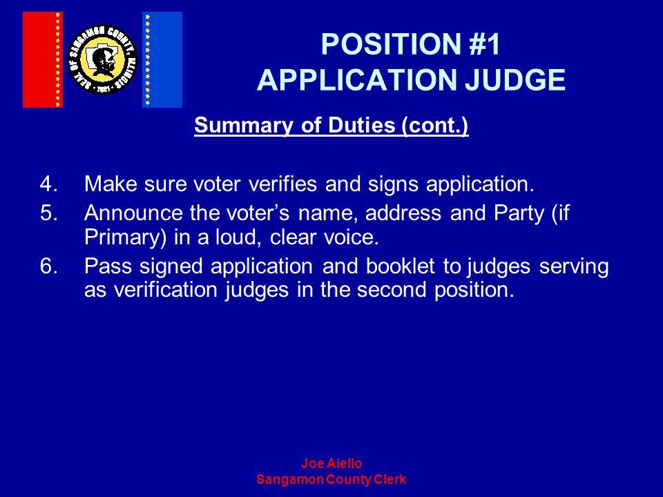 POSITION #1 APPLICATION JUDGE