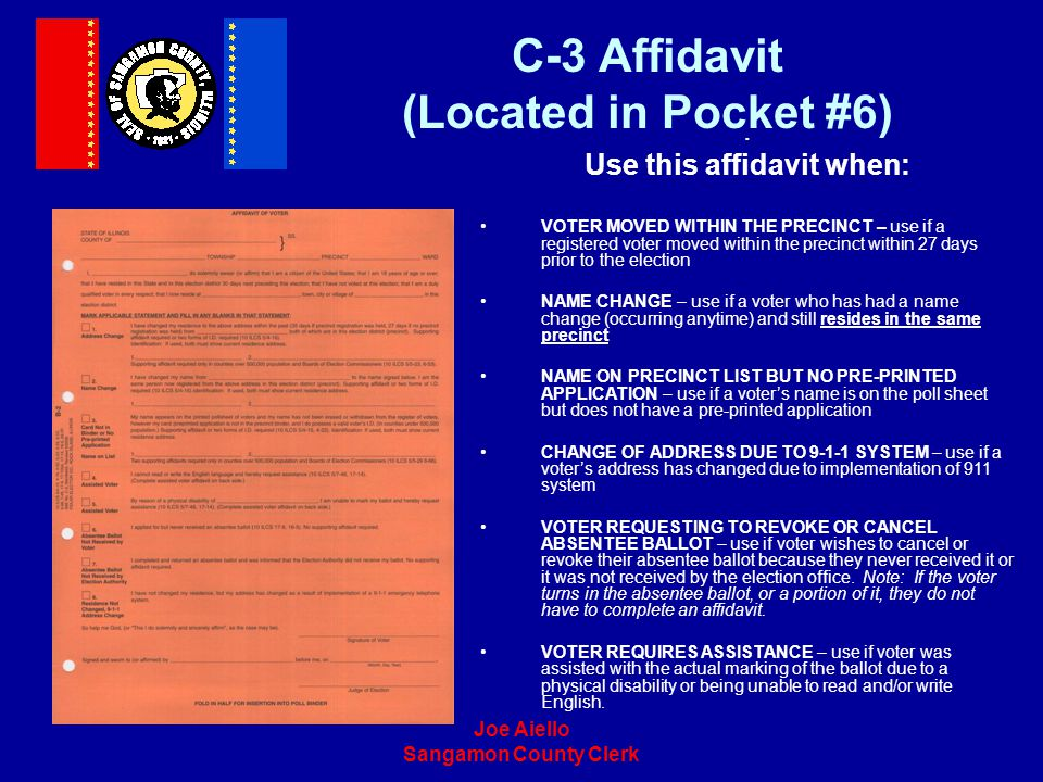 C-3 Affidavit (Located in Pocket #6)