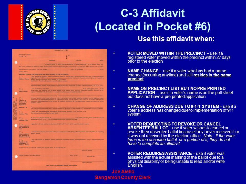 C-3 Affidavit (Located in Pocket #6)