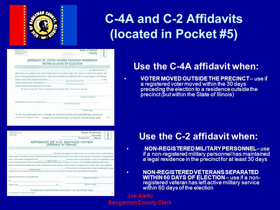 C-4A and C-2 Affidavits (located in Pocket #5)
