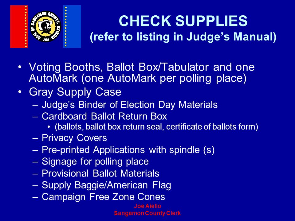 CHECK SUPPLIES (refer to listing in Judge's Manual)