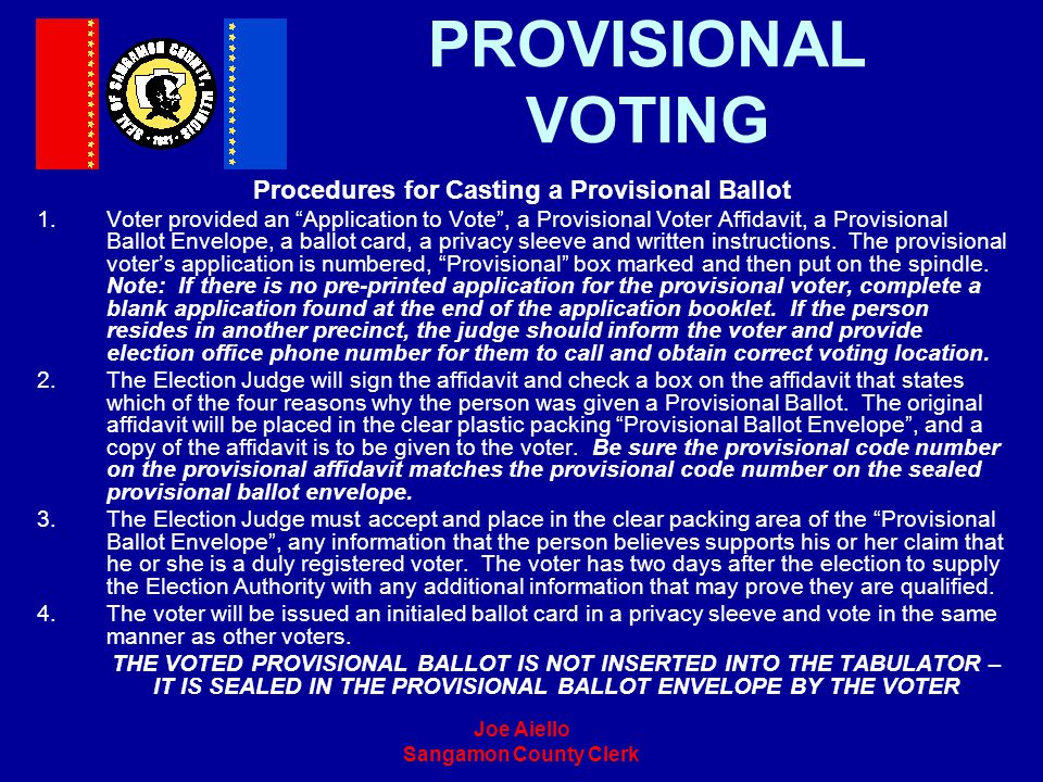 Procedures for Casting a Provisional Ballot