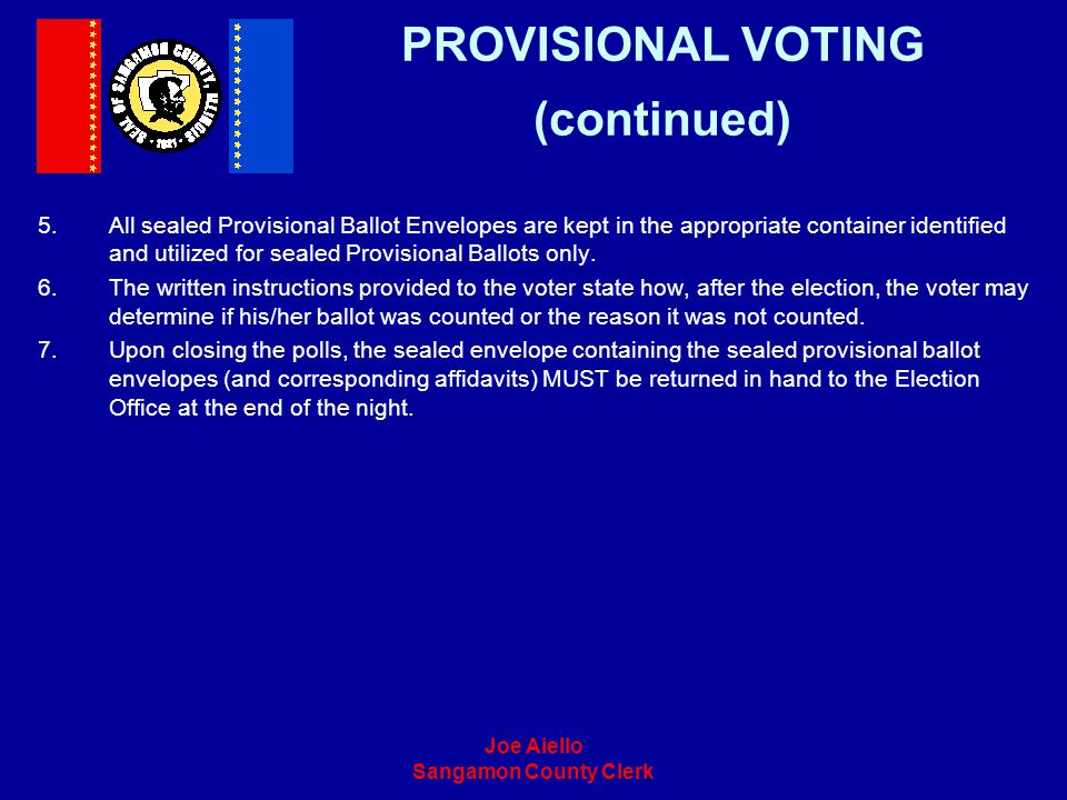 PROVISIONAL VOTING (continued)
