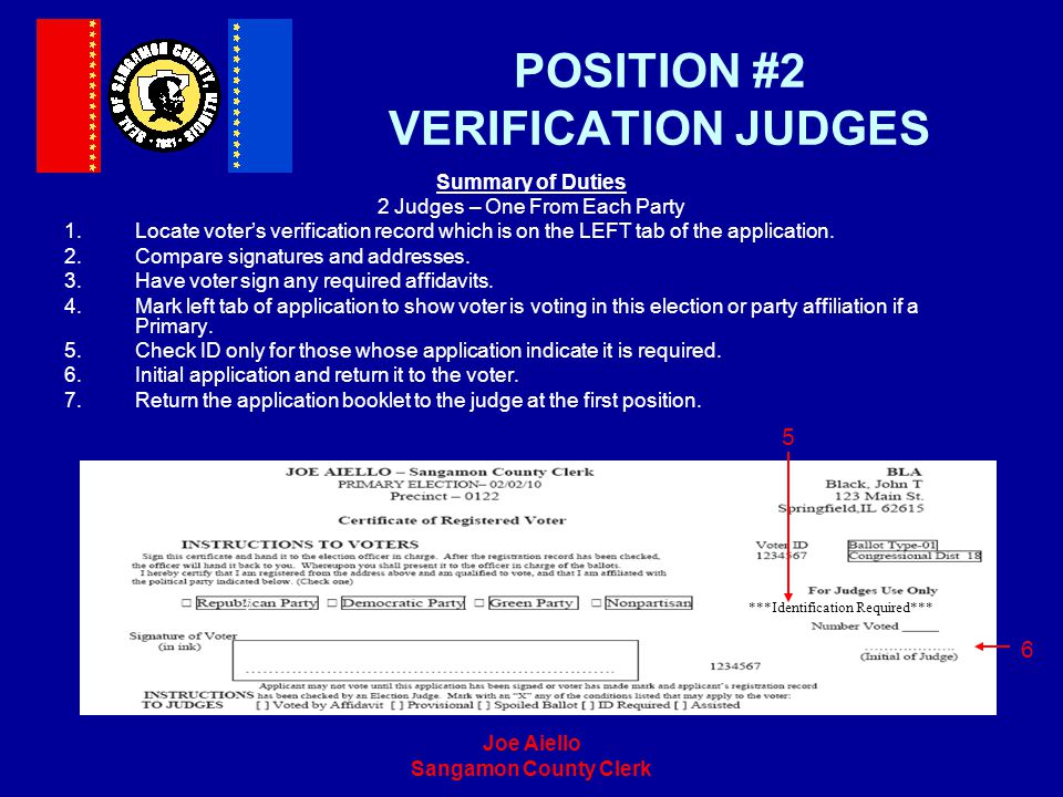 POSITION #2 VERIFICATION JUDGES