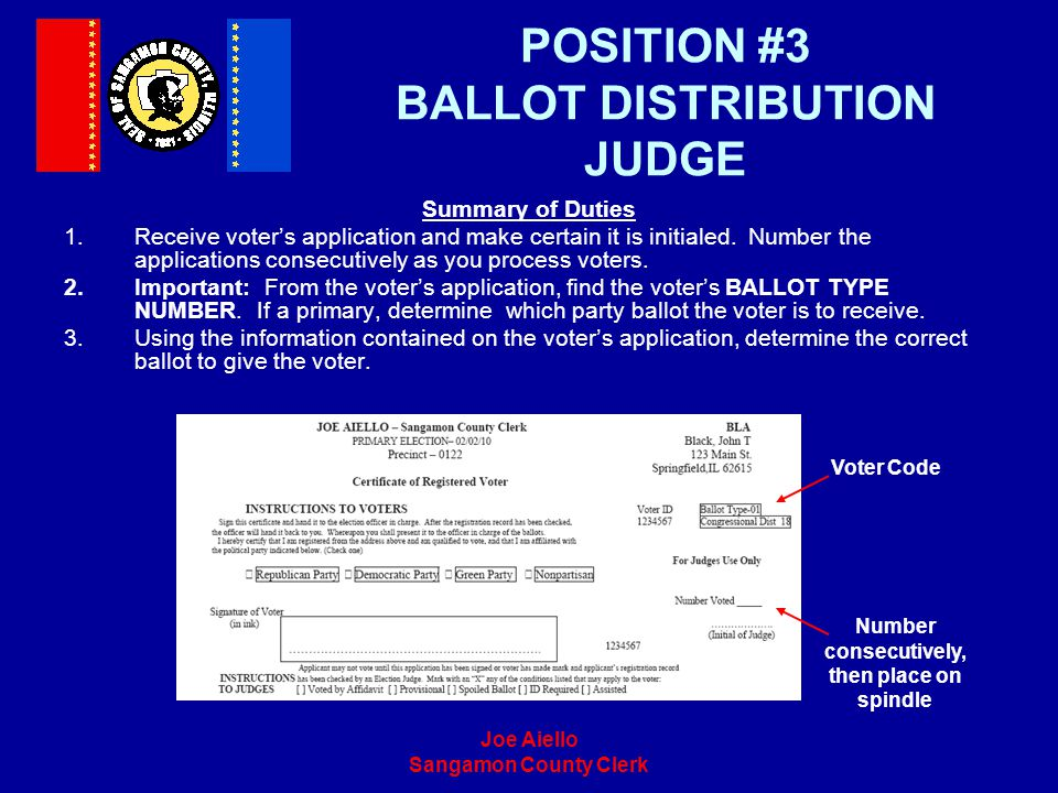 POSITION #3 BALLOT DISTRIBUTION JUDGE