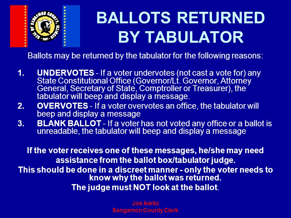 BALLOTS RETURNED BY TABULATOR