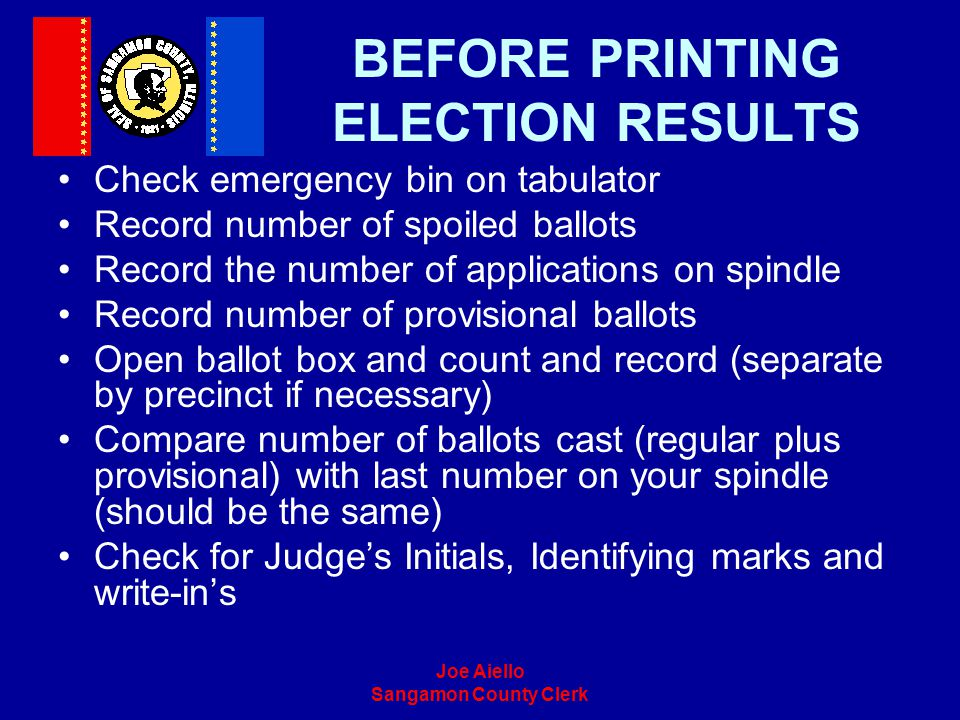 BEFORE PRINTING ELECTION RESULTS