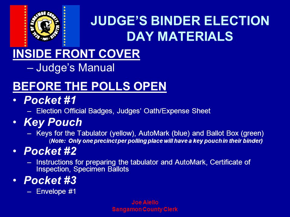 JUDGE'S BINDER ELECTION DAY MATERIALS