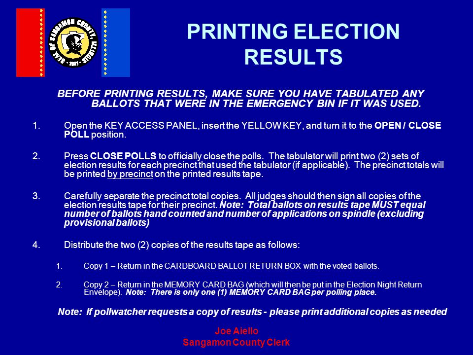 PRINTING ELECTION RESULTS