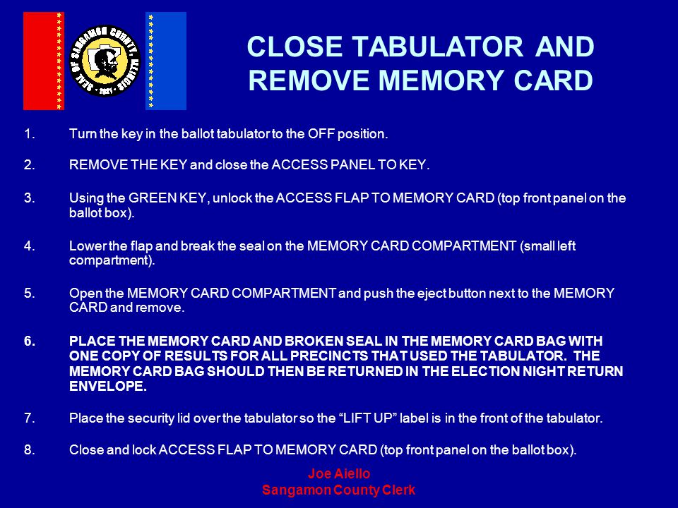 CLOSE TABULATOR AND REMOVE MEMORY CARD