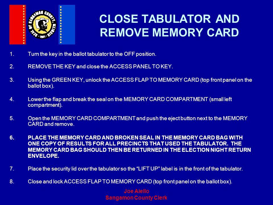 CLOSE TABULATOR AND REMOVE MEMORY CARD