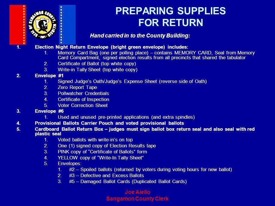 PREPARING SUPPLIES FOR RETURN