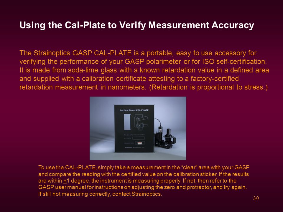 Using the Cal-Plate to Verify Measurement Accuracy