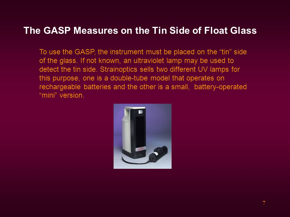 The GASP Measures on the Tin Side of Float Glass