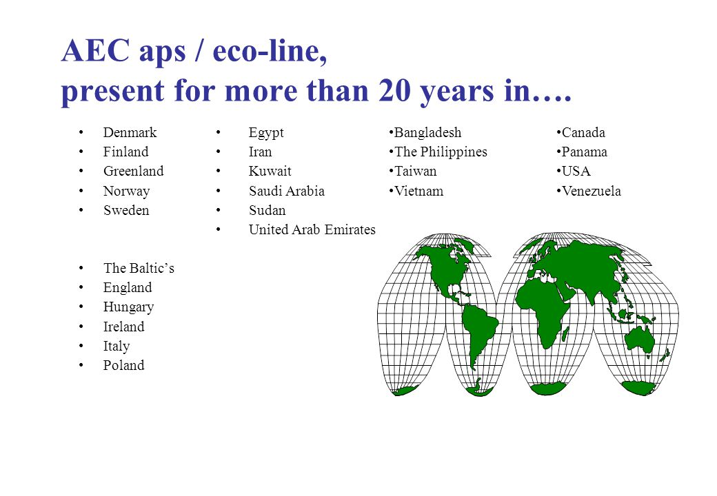 AEC aps / eco-line, present for more than 20 years in….