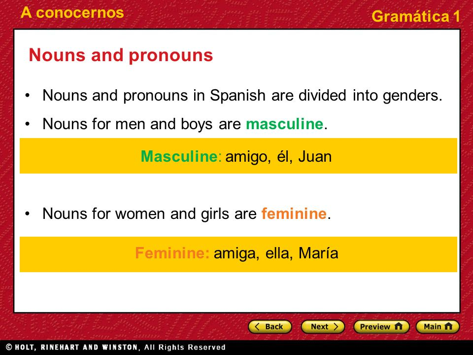 Nouns and pronouns Nouns and pronouns in Spanish are divided into genders. Nouns for men and boys are masculine.
