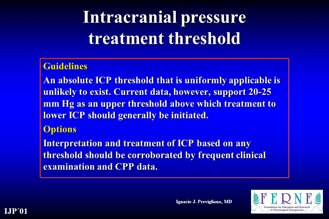 Intracranial pressure treatment threshold