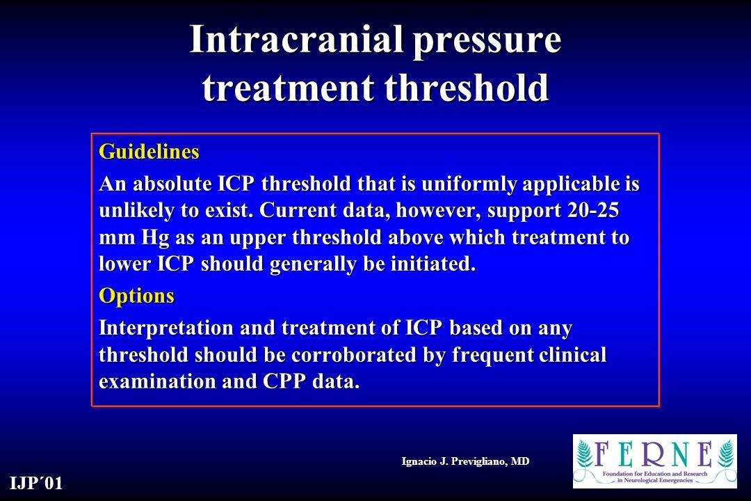 Intracranial pressure treatment threshold
