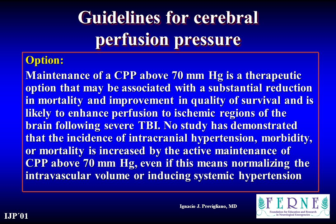 Guidelines for cerebral perfusion pressure