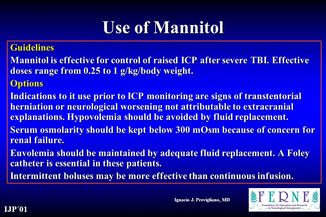 Use of Mannitol Guidelines
