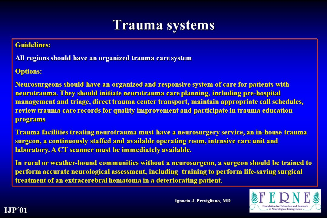 Trauma systems Guidelines: