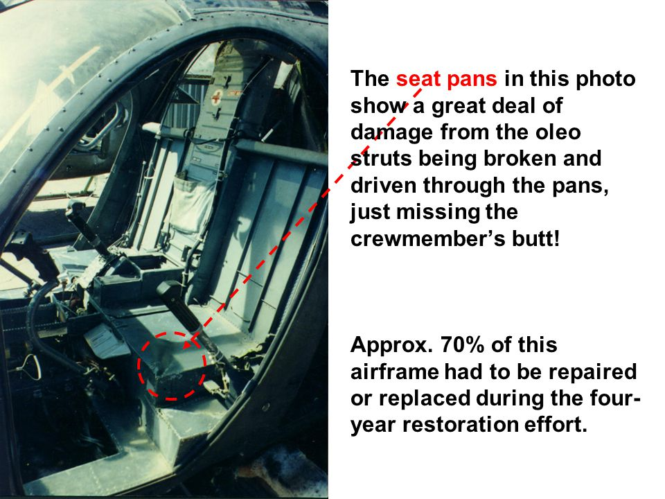 The seat pans in this photo show a great deal of damage from the oleo struts being broken and driven through the pans, just missing the crewmember's butt.