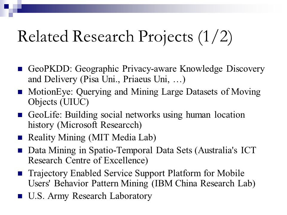 Related Research Projects (1/2)