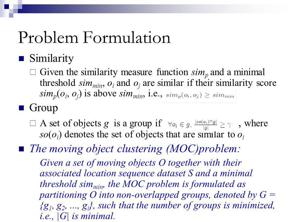 Problem Formulation Similarity Group