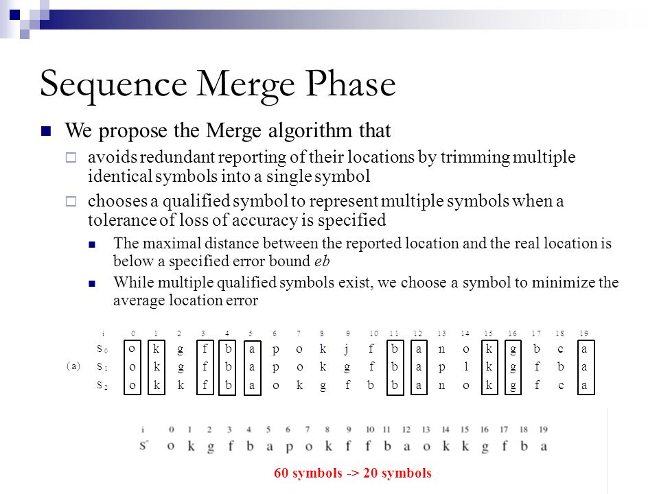 Sequence Merge Phase We propose the Merge algorithm that