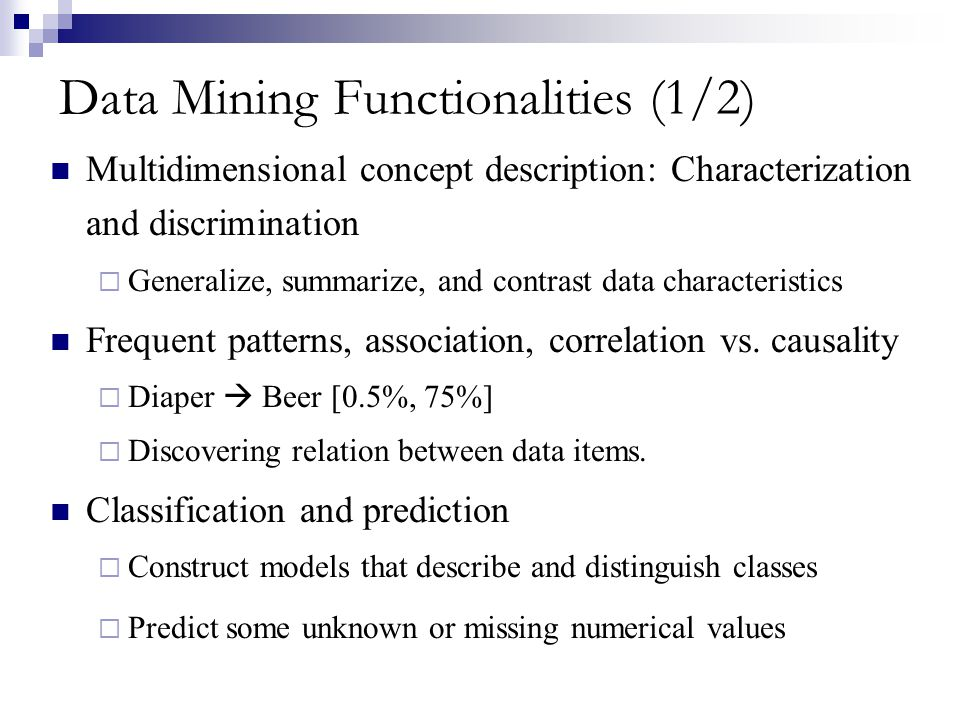 Data Mining Functionalities (1/2)