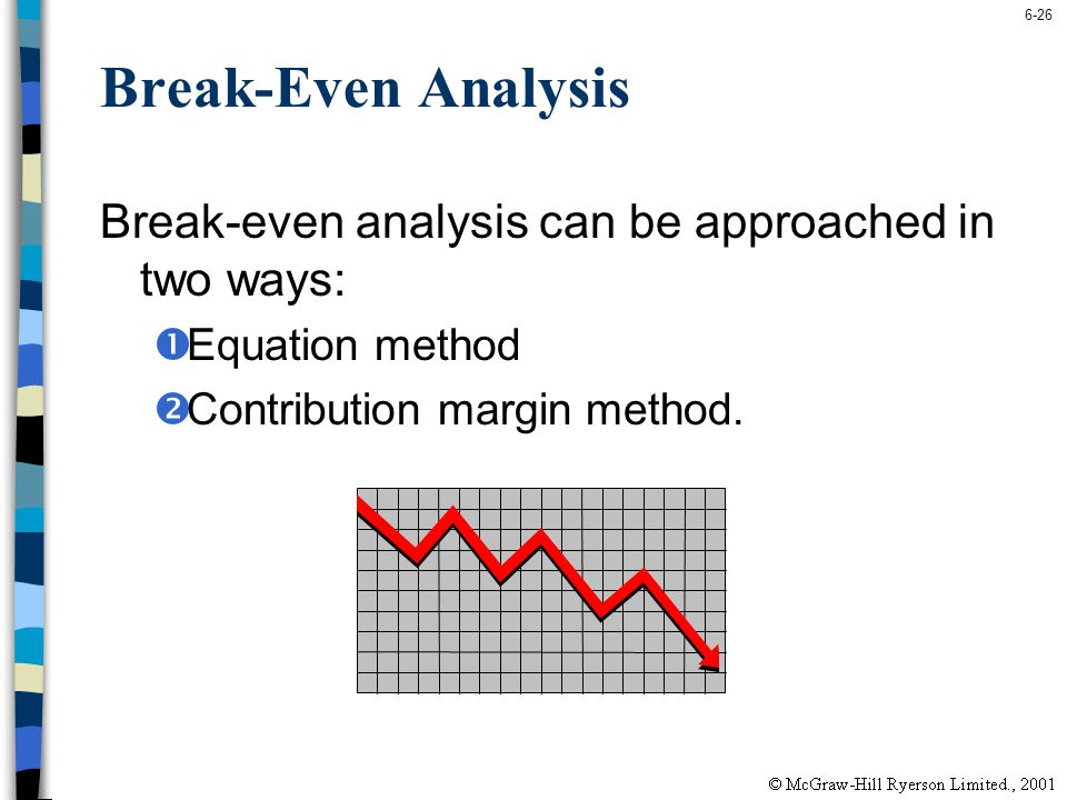 Break-Even Analysis Break-even analysis can be approached in two ways: