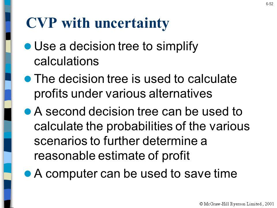 CVP with uncertainty Use a decision tree to simplify calculations