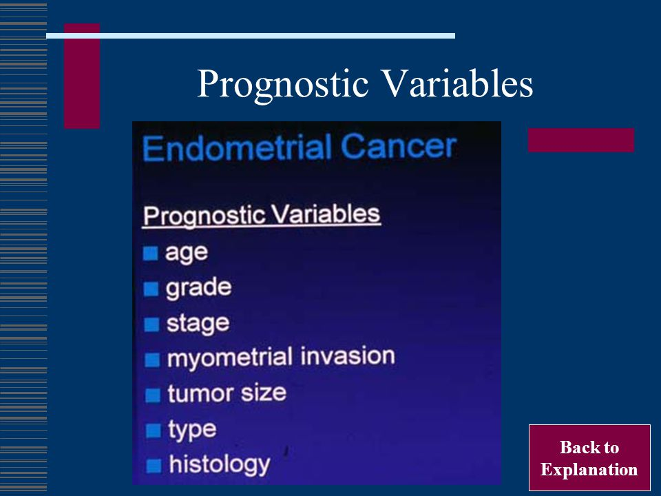 Prognostic Variables Back to Explanation