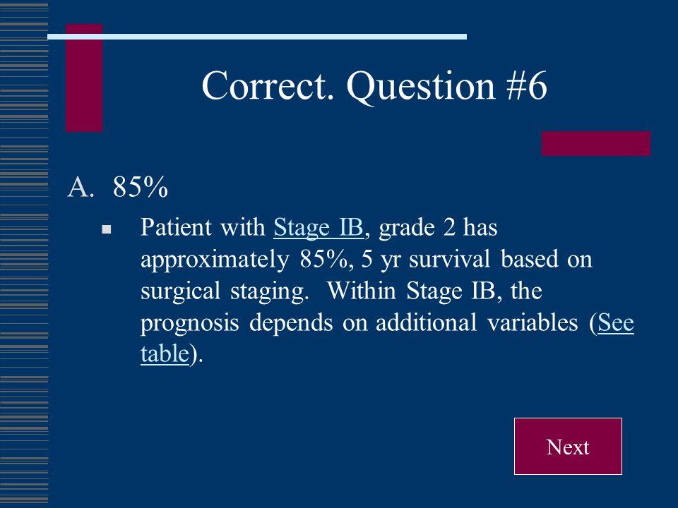 Correct. Question #6 85%