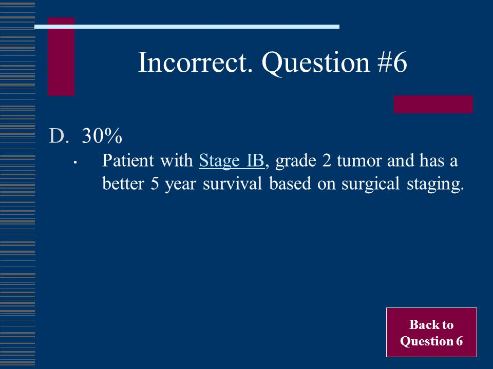 Incorrect. Question #6 30% Patient with Stage IB, grade 2 tumor and has a better 5 year survival based on surgical staging.