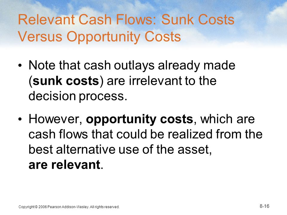 Relevant Cash Flows: Sunk Costs Versus Opportunity Costs
