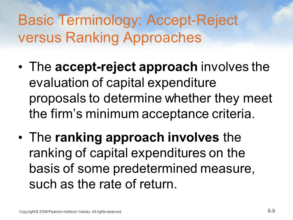 Basic Terminology: Accept-Reject versus Ranking Approaches