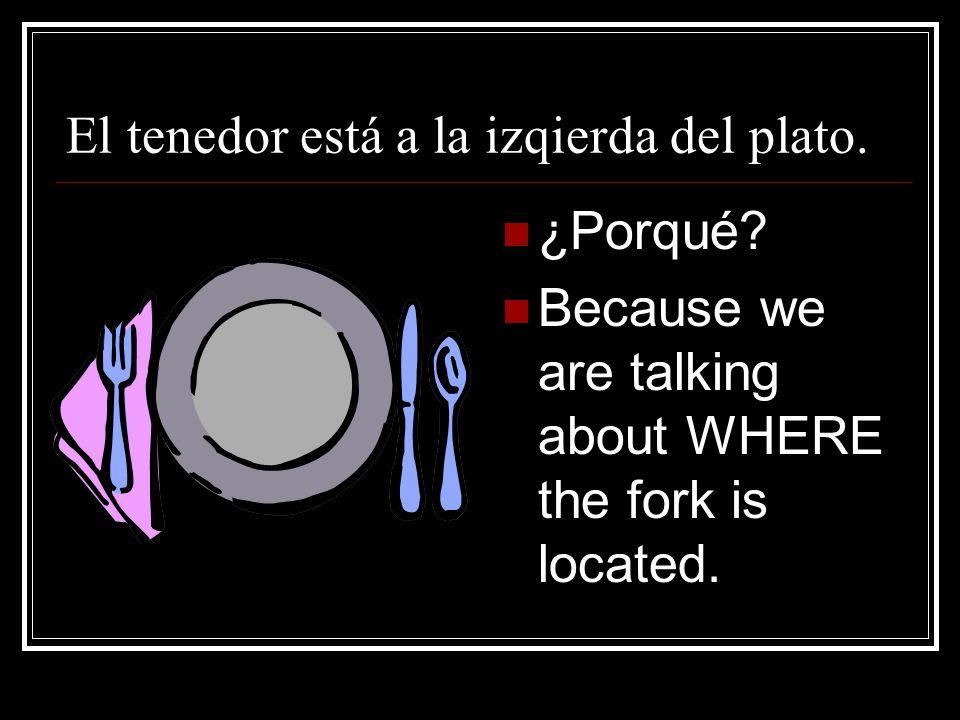 El tenedor está a la izqierda del plato.