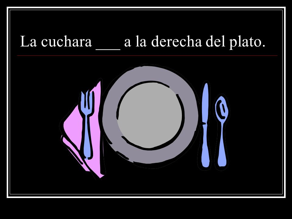 La cuchara ___ a la derecha del plato.
