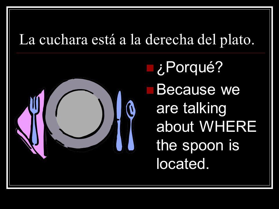 La cuchara está a la derecha del plato.