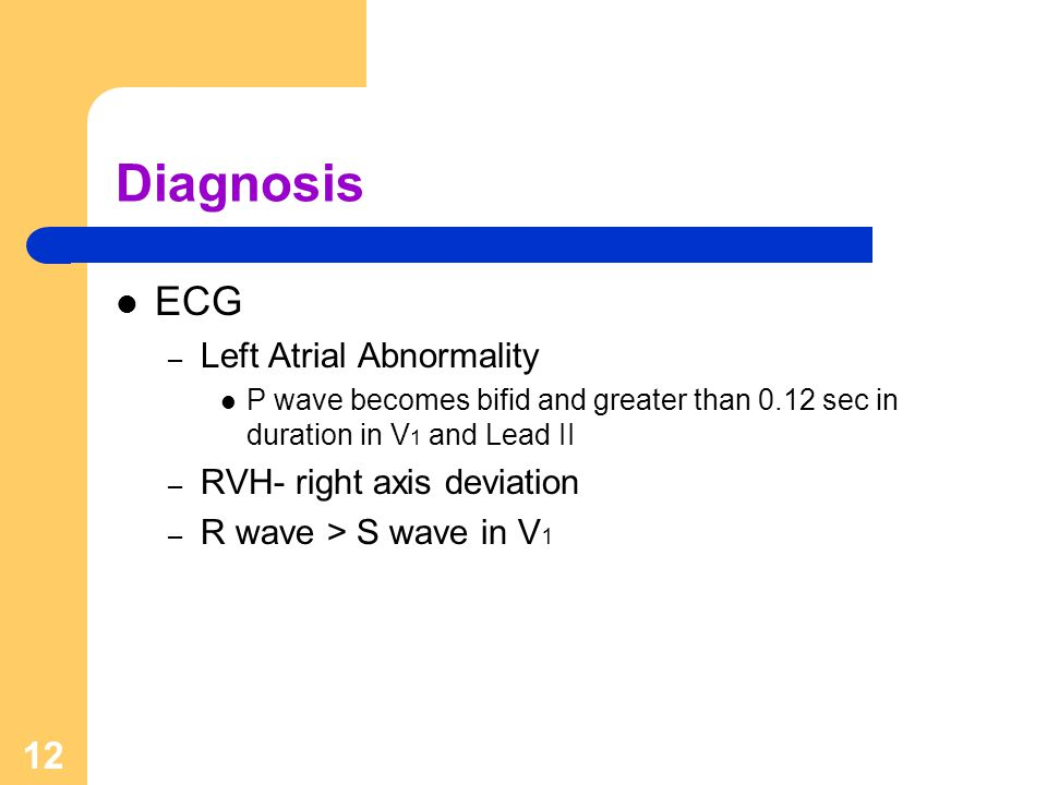 Diagnosis ECG Left Atrial Abnormality RVH- right axis deviation