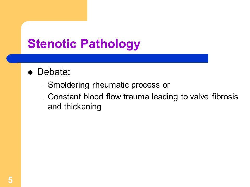 Stenotic Pathology Debate: Smoldering rheumatic process or