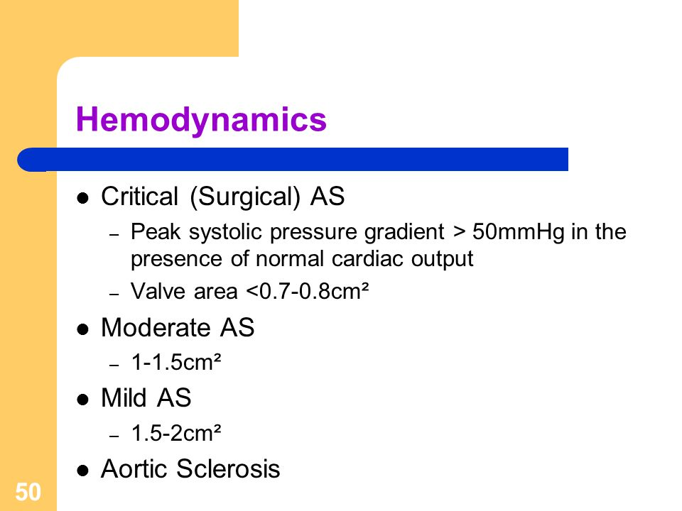 Hemodynamics Critical (Surgical) AS Moderate AS Mild AS