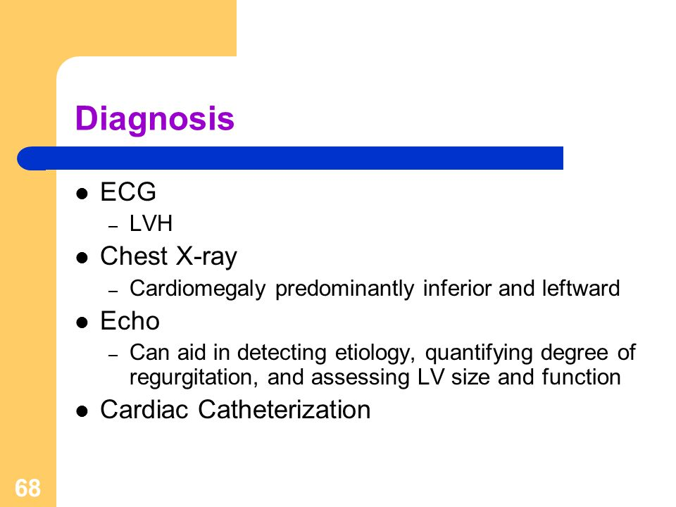 Diagnosis ECG Chest X-ray Echo Cardiac Catheterization LVH